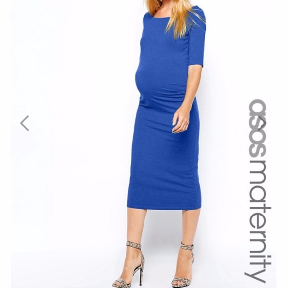 ASOS Maternity Dresses & Skirts - ASOS Maternity Bardot Dress With Half Sleeve Blue